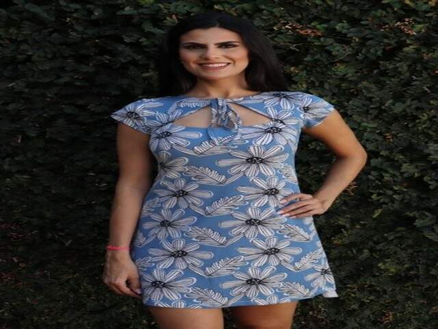Vestido Floral Azul Detalhe Amarração Frontal