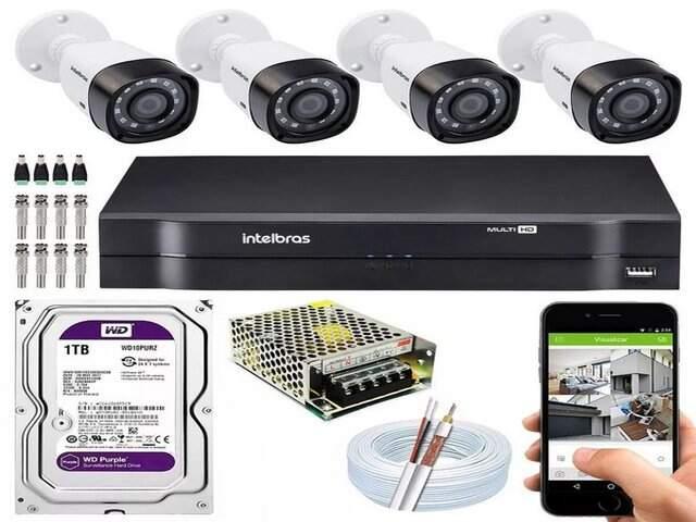 Kit com 04 câmeras Intelbras + instalação