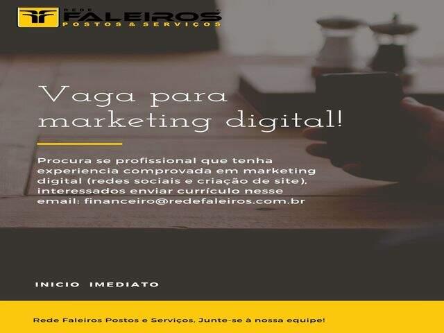 Vaga para desenvolvedor de site e marketing digital