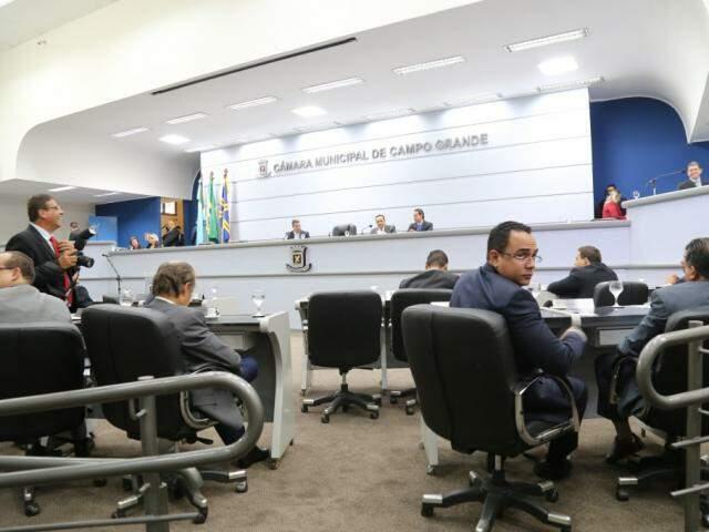 Vereadores na 1ª sessão de 2018 na Câmara Municipal de Campo Grande. (Foto: Marcos Ermínio/Arquivo).