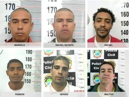 Fotos dos envolvidos na morte do agente divulgada pela Polícia Civil. Rafael é o terceiro (da esquerda para a direita) da primeira fileira (Foto: Divulgação)