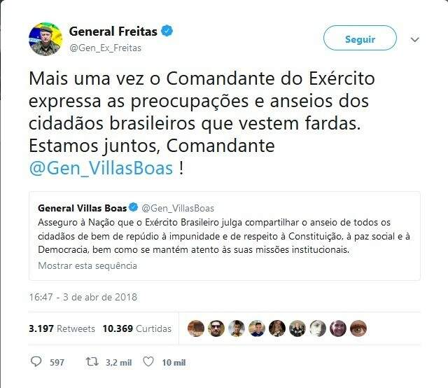 Comandante do Exército no Estado apoia fala de general sobre impunidade