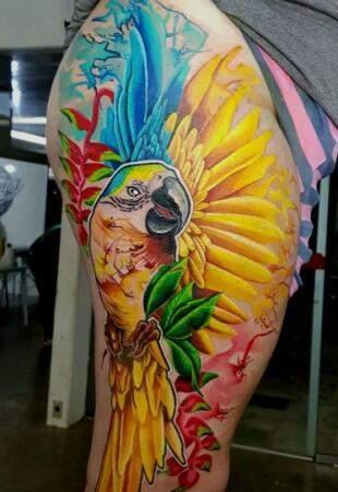 Tatuagem colorida bem sul-mato-grossense.