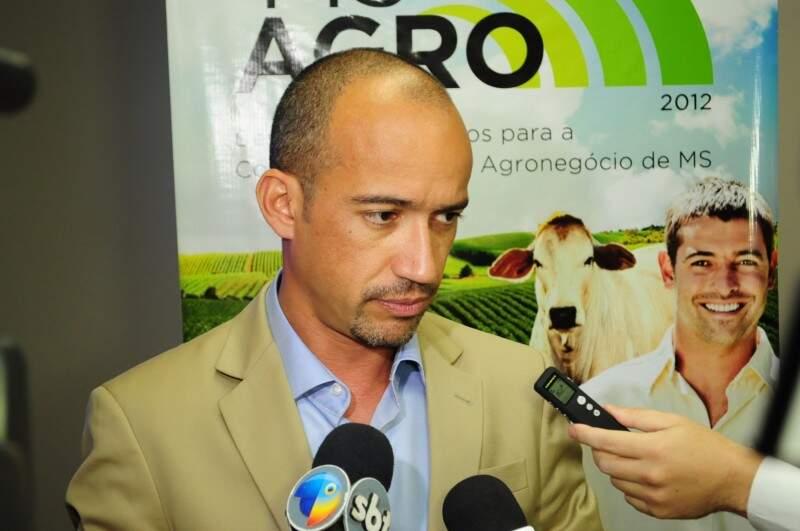 Presidente da Monsanto falou sobre suspensão da cobrança de royalities durante vento na Famasul. (Foto: Rodrigo Pazinato)