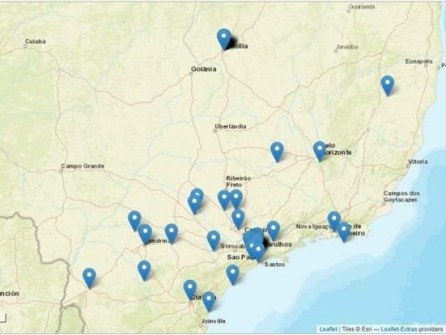 Registros dos tremores percebidos no Brasil (Foto: Site Sentiu aí?/Reprodução)