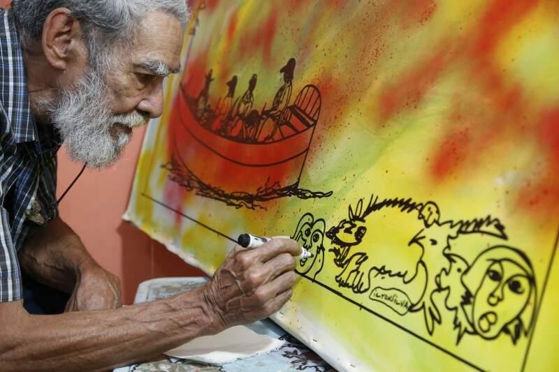 Ilton durante as suas experimentações aos 72 anos de idade (Fotos: Gerson Walber)