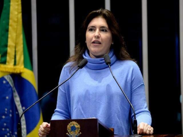 Senadora Simone Tebet disse que hoje está em Brasília, para convenção nacional do MDB (Foto: Jefferson Rudy/Agência Senado)