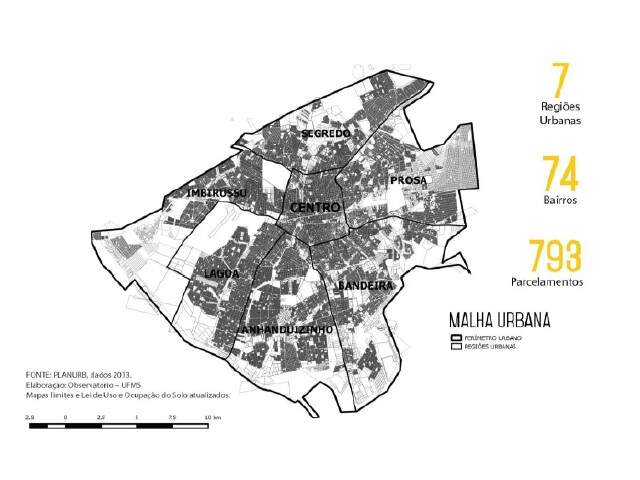 Campo Grande é dividida em sete regiões urbanas. (Fonte: Planurb)