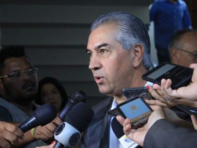 Reinaldo Azambuja, PSDB, concede entrevista à imprensa nesta quarta-feira (dia 21). (Foto: Marina Pacheco).