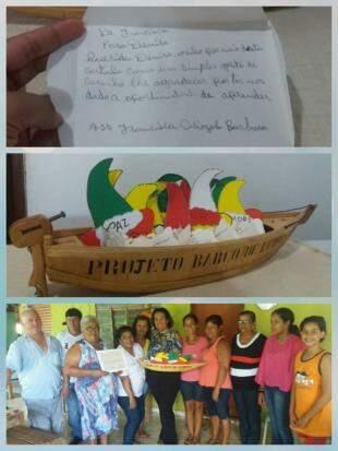 Cartinha e alunos do projeto Barcos das Letras.