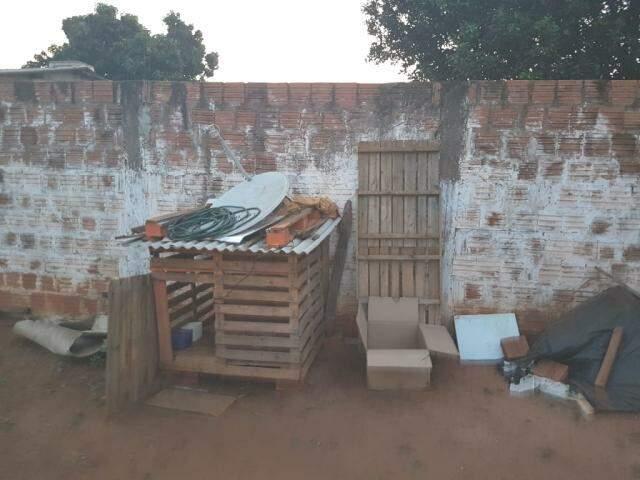 Filhotes eram mantidos em caixa de papelão, ao relento, enfrentando o tempo seco e quente. (Foto: Divulgação/Decat)