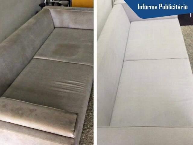 Pode não parecer, mas é o mesmo sofá, antes e depois do serviço da Stof Clean.
