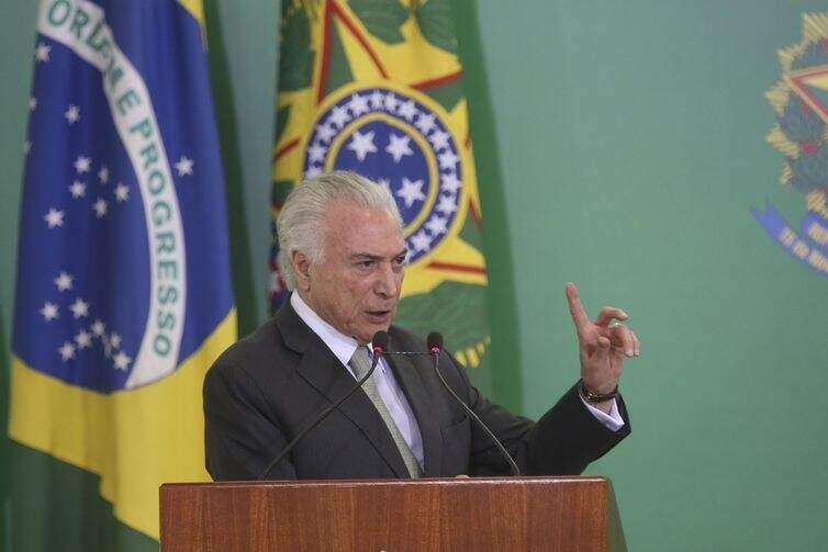 Temer discursa na cerimônia de assinatura de medida provisória que abre linha de crédito para as santas casas e hospitais filantrópicos (Foto: Antonio Cruz/Agência Brasil)