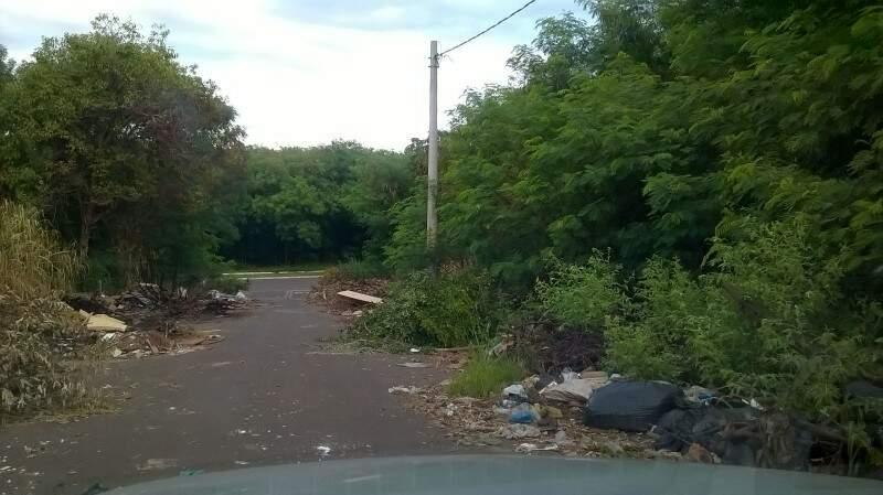 Lixo e mato alto invadem a rua (foto Direto das Ruas)