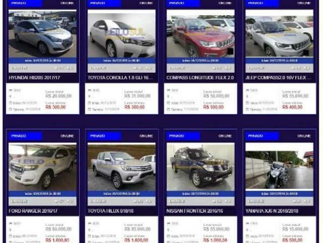 Atualmente fora do ar, site de leilões eletrônicos ofertava veículos com preços atrativos. (Foto: Reprodução)