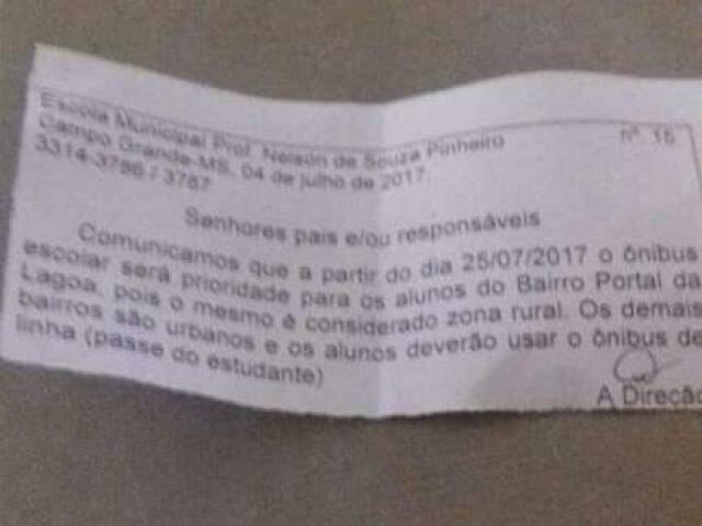 Comunicado enviado pela prefeitura, no dia 4 de julho, informando sobre a suspensão de transporte escolar em áreas urbanas. (Foto: Direto das Ruas)