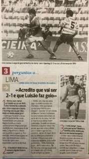 Ex-atacante Lima é homenageado em Portugal por gol feito em 1990