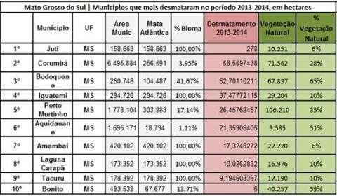 Juti está entre 10 municípios brasileiros que mais desmataram a Mata Atlântica