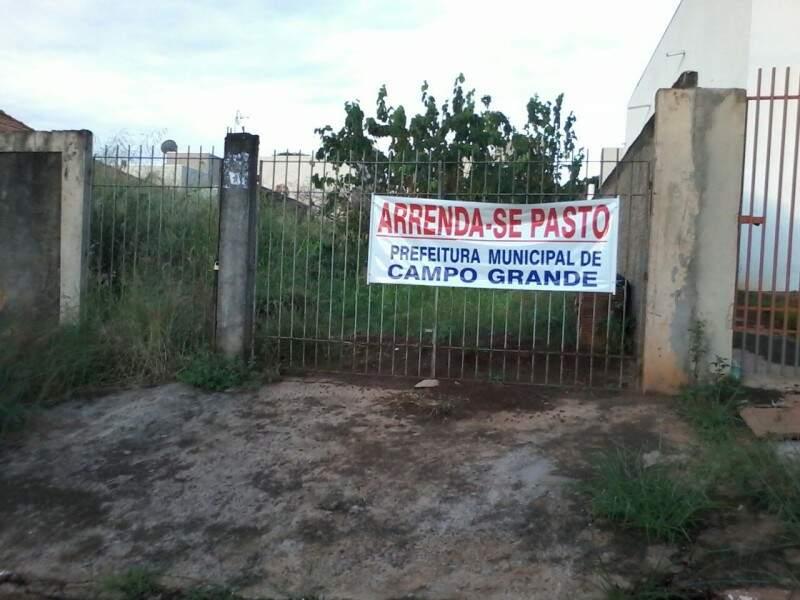 O cartaz foi usado como forma de protesto ao mato alto da área.(Foto:Direto das Ruas)
