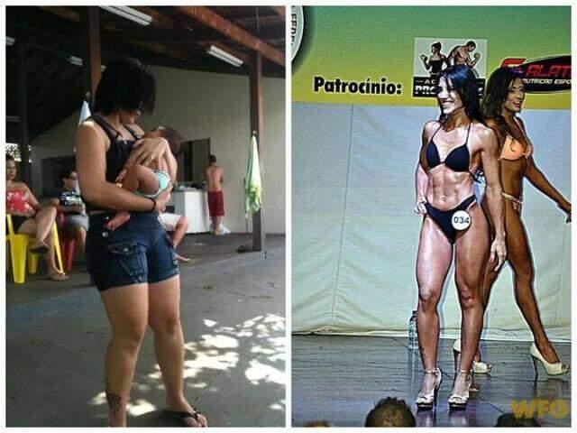 No antes e depois, montagem feita pela própria Ana Paula, mostram jornalista com 68 quilos e depois com 57. (Foto: Arquivo Pessoal)