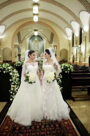 Noivas irmãs, Marias protagonizaram casamento duplo em setembro. (Foto: Eurides Aoki)