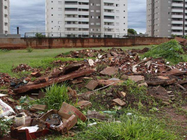 Montanha de lixo jogada no terreno (Foto: Marcos Ermínio)