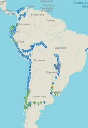 Todos os pontos visitados por Kostantin na América do Sul.