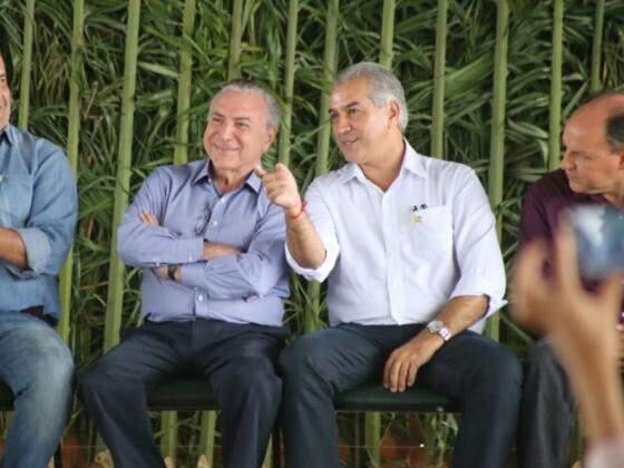 Presidente Michel Temer com o governador Reinaldo Azambuja, no sábado, dia 21, em Miranda. (Foto: Marcos Ermínio).