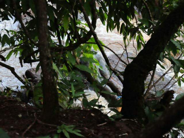 Corpo foi encontrado próximo à cachoeira (Foto: Paulo Francis)
