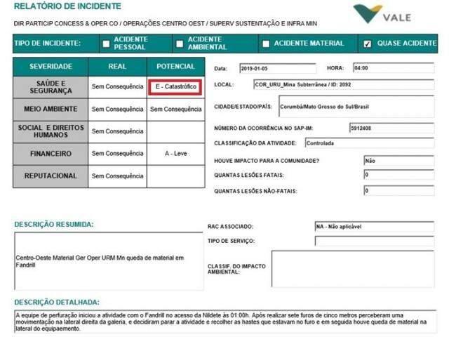Documento que trata do incedente da Vale em Corumbá. (Foto: Reprodução/Tecmundo)