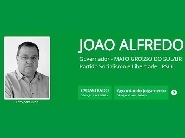 João Alfredo (Psol) na foto que estará disponível na urna (Foto: TRE-MS/Divulgação)