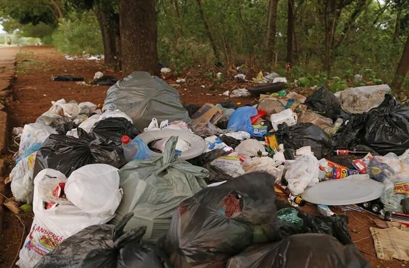 Várias sacolas de lixo foram encontradas em reserva de preservação ambiental. (Foto: Gerson Walber)