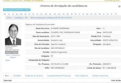 No sistema do TSE, foto de Bernal aparece junto às informações sobre o candidato ao Governo do PP. (Reprodução)