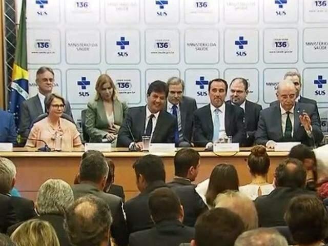 Luiz Henrique Mandetta tomou posse na tarde desta quarta-feira (2). (Foto: Reprodução/NRB)