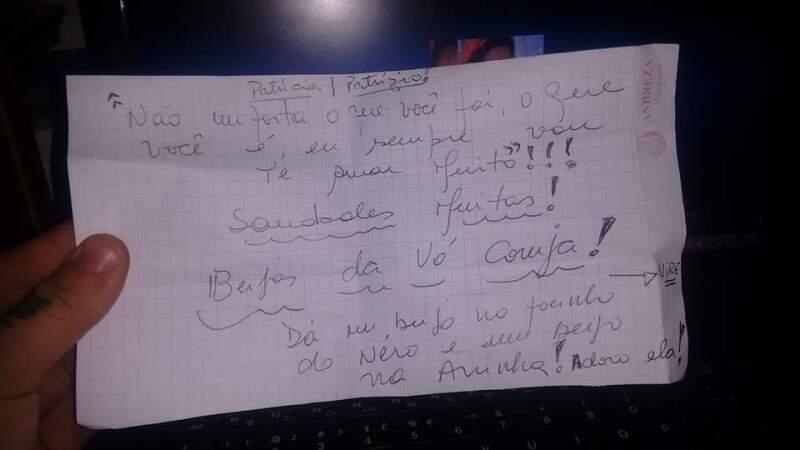 A carta que chegou às vésperas da partida dela. (Foto: Alcides Neto)