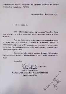 Dois anos e meio após filiação, Odilon de Oliveira sai do PDT