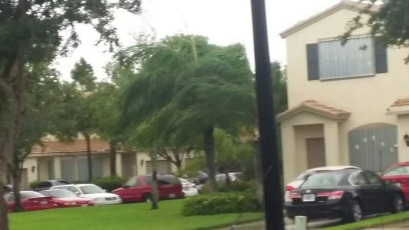 O registro é do vento em condomínio em Coconut Creek, pela manhã de hoje (7). (Foto: Arquivo Pessoal)