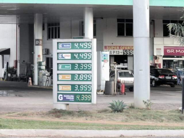 Tabela com valores dos combustíveis em posto onde gasolina estava acima do teto (Foto: Saul Schramm)