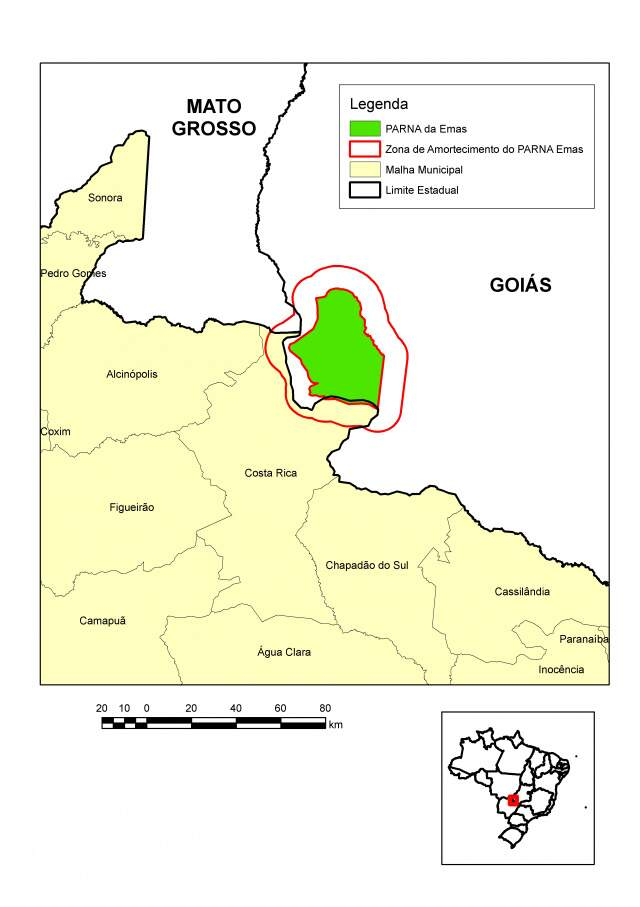 Mapa mostra área em questão na divisa de MS e GO.