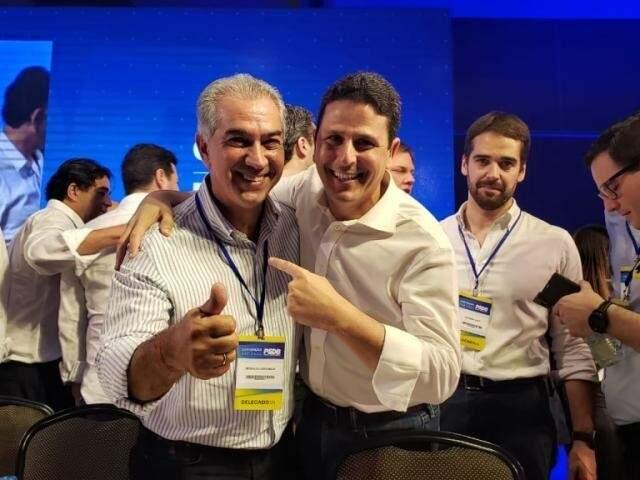 Governador Reinaldo Azambuja (PSDB) ao lado do presidente nacional do PSDB, Bruno Araújo (PSDB - Arquivo)