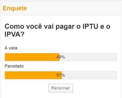 Leitor prefere parcelar IPTU e IPVA, aponta enquete