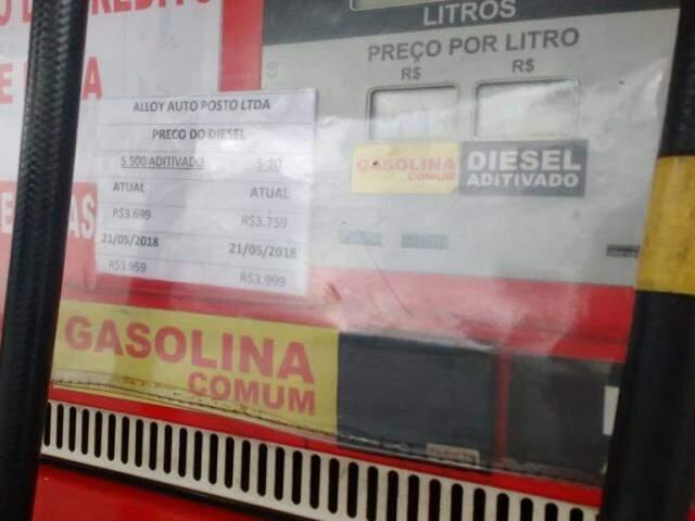 Variação no preço do diesel no Posto Alloy (Foto: Geicy Garnes)