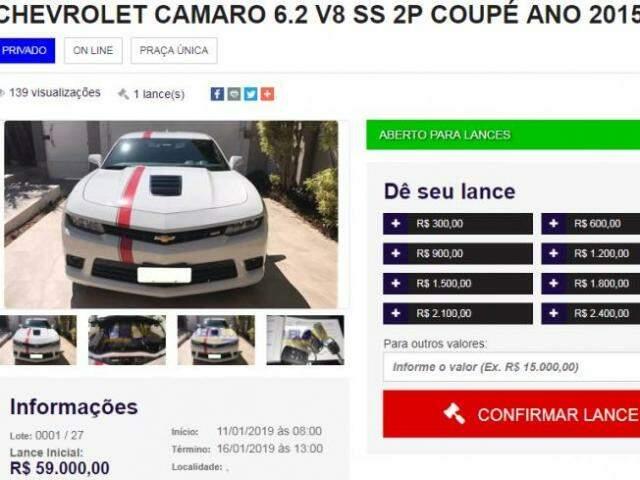 Camaro tem lance inicial de R$ 59 mil no site www.leilosulveiculos.com (Foto: Reprodução)