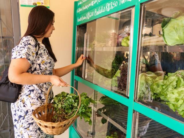 A contadora Joseane Martins selecionando os produtos orgânicos que vai levar para a casa (Foto: Henrique Kawaminami)