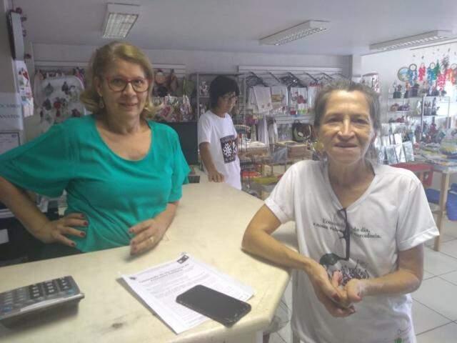 Clarinda e Sebastiana, voluntárias do espaço. (Foto: Danielle Valentim)