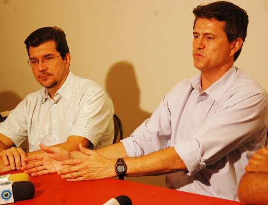 David concedeu entrevista esta tarde, acompanhado do deputado Pedro Kemp e dirigentes da legenda. (Foto: Pedro Peralta)