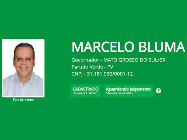 Marcelo Bluma (PV) sorri para foto que também aparecerá na urna (Foto: TRE-MS/Divulgação)