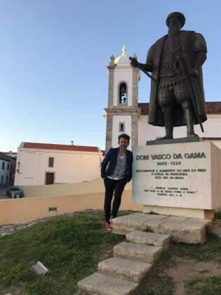 Em Sines, cidade onde nasceu o famoso navegador português Vasco da Gama (Foto: Bárbara Marques)