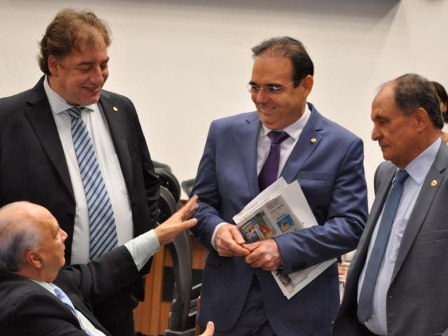 Deputados Londres Machado (PL), Neno Razuk (PTB), Felipe Orro (PSDB) e Zé Teixeira (DEM), durante sessão (Foto: Luciana Nassar/ALMS)