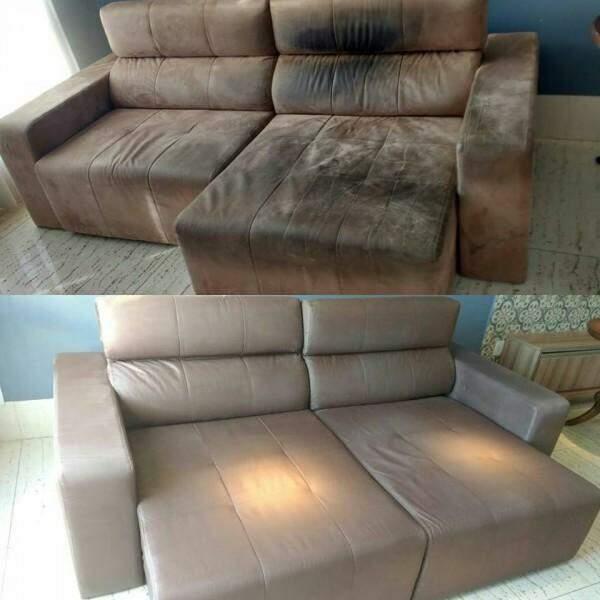 Antes e depois de um sofá higienizado pela Stof Clean.